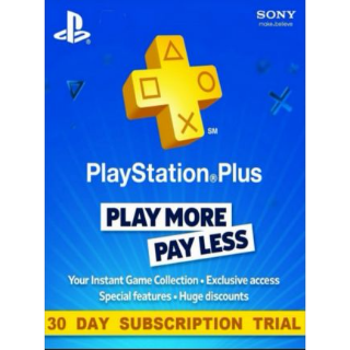 Playstation Plus 30 Day Trial Key (See description).
