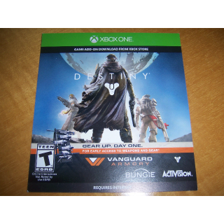 Destiny Vanguard Armory items Preorder Bonus Download Code (DLC) for XBOX ONE - INSTANT DELIVERY