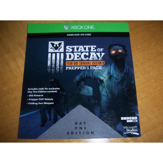 State of Decay Year One Survival Edition YOSE Prepper's Pack Download Code (DLC) for XBOX ONE - INSTANT DELIVERY