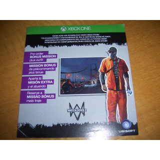 Watch Dogs 2 Pre-Order Zodiac Killer Bonus Mission plus Outfit Code (DLC) for XBOX ONE - INSTANT DELIVERY