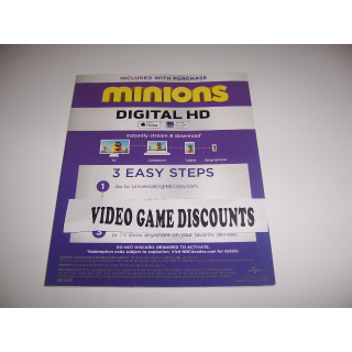 Minions - Digital HD Movie - Instant Delivery