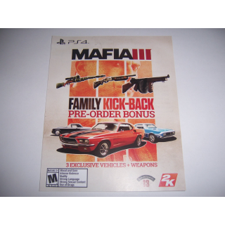 MAFIA III Add on DLC Family Kick-Back Bonus for PlayStation 4 PS4 - INSTANT DELIVERY