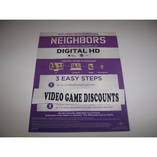 Neighbors - Digital HD Movie Code - Instant Delivery