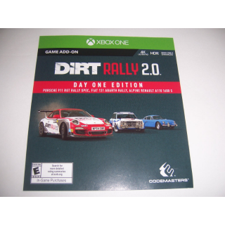 Dirt Rally 2.0 Day One Edition Add-on Code DLC for Xbox One XB1