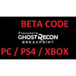 TOM CLANCY'S GHOST RECON BREAKPOINT Xbox/PS4/PC BETA CODE GLOBAL