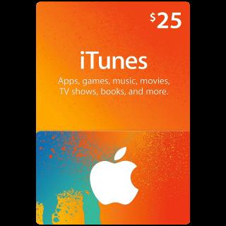 $25.00 iTunes USA X2 (Use immediately)