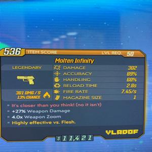 Weapon | Molten Infinity Pistol Lvl 50
