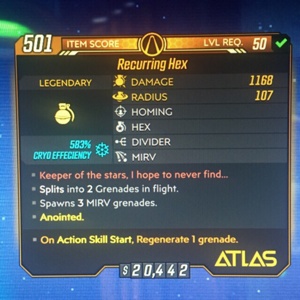 Grenade | Recurring Hex (Anointed) Lvl 50
