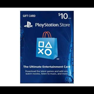 PSN Playstation Network Gift Card $10 (USA)