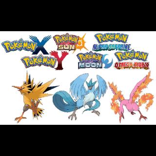 ALL 3 Shiny 6IV Legendary Birds Bundle!(Moltres, Articuno, Zapdos!) Pokemon Sun, Moon, X , Y, Omega Ruby And Alpha Sapphire!