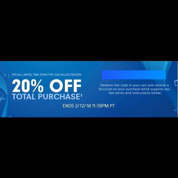 PSN 20% Off Discount Coupon - PS4 Games - Gameflip