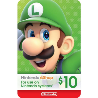 Nintendo 10 USD eShop card (use code TUESDAY20 to save 3 dollar)
