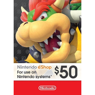 Nintendo 50 USD eShop card (use code TUESDAY20 to save 3 dollar)