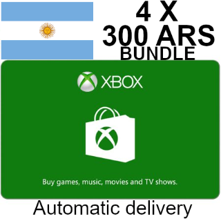 $1200 ARS Xbox Gift Card Argentina Store Bundle (4x $300 ARS)  Automatic Delivery