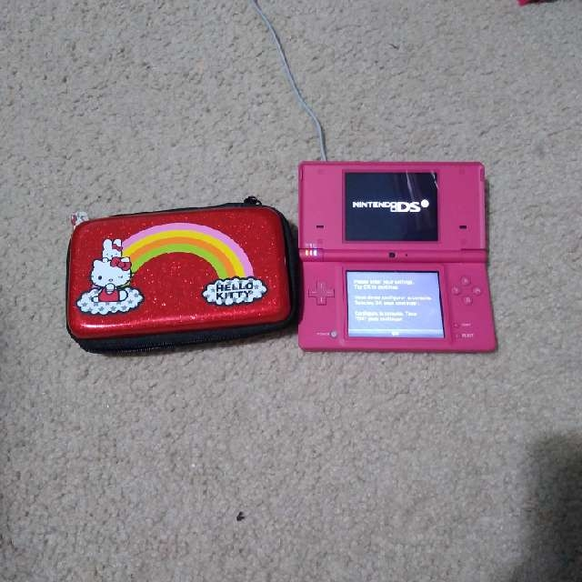 Pink Nintendo DSi With Red Case