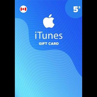 $5.00 iTunes Canada