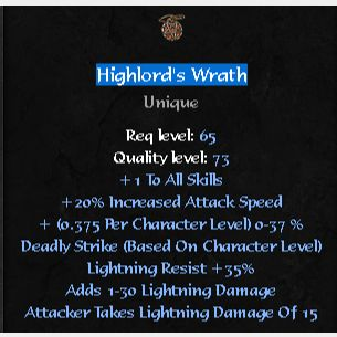 Uniques   Highlord's Wrath