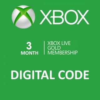 Xbox Live Gold 3 Month Membership Digital Code