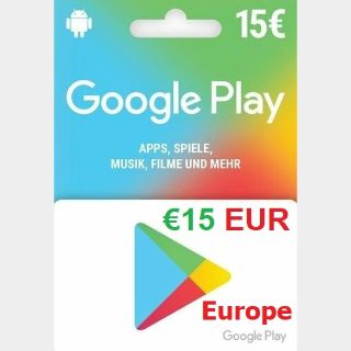 €15.00 Euro Google Play (Instant Delivery)