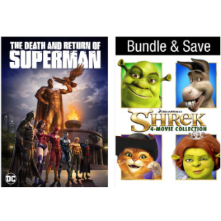 THE DEATH AND RETURN OF SUPERMAN & SHREK 4 FILM COLLECTION HD VUDU INSTAWATCH.