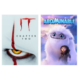 IT CHAPTER 2 & ABOMINABLE HD VUDU INSTAWATCH COMBO PACK