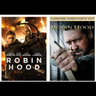 robin hood 2 movie bundle 2010 and 2018 HD VUDU INSTAWATCH