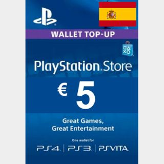 €5.00 PlayStation Store SPAIN AUTO DELIVERY