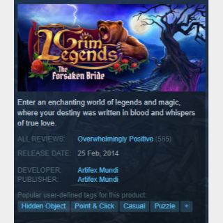 [steam game key] Grim Legends The Forsaken Bride 90%