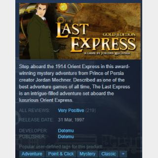 [steam game key] The Last Express Gold Edition 90%