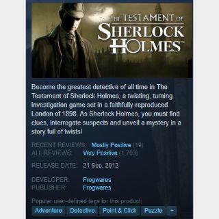 [steam game key] The Testament of Sherlock Holmes   90%