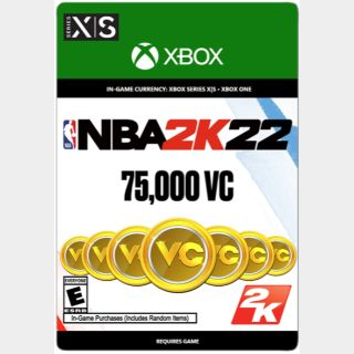 NBA 2K22: 75000 - Virtual Currency (Xbox ON / Xbox Series) - US - INSTANT DELIVERY
