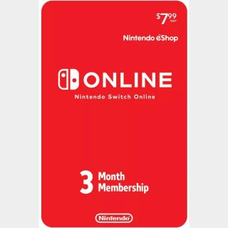 Nintendo Switch Online 3-Month Individual Membership (Nintendo Switch) - US - INSTANT DELIVERY