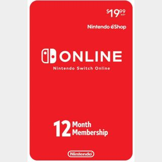 Nintendo Switch Online 12-Month Individual Membership (Nintendo Switch) - US - INSTANT DELIVERY