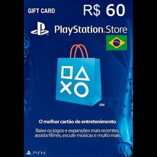 PSN R$60 REAIS Playstation Store Gift Card - Brasil / Brazil