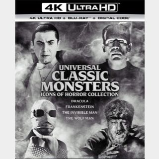 UNIVERSAL CLASSIC MONSTERS 4-MOVIE / 🇺🇸 / Dracula, Frankenstein, The Wolf Man, The Invisible Man / 4K UHD MOVIESANYWHERE