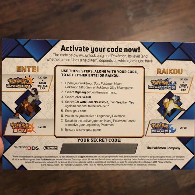 Event Pokemon   Event Pokémon Target exclusive card / Entei