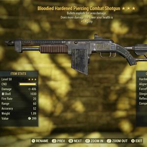 Weapon | 3* Bloodied combat shotgun