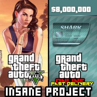Grand Theft Auto Online: Megalodon Shark Cash Card Rockstar GLOBAL 8 000 000 USD Key PC[GTA 5][GTA V]