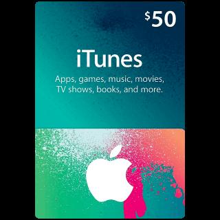 $50.00 iTunes (Instant Redeem)
