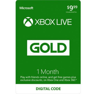 1 Month Xbox Live Gold (Digital Code) US