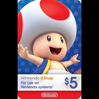 $5 Nintendo eShop (Instant Delivery USA)